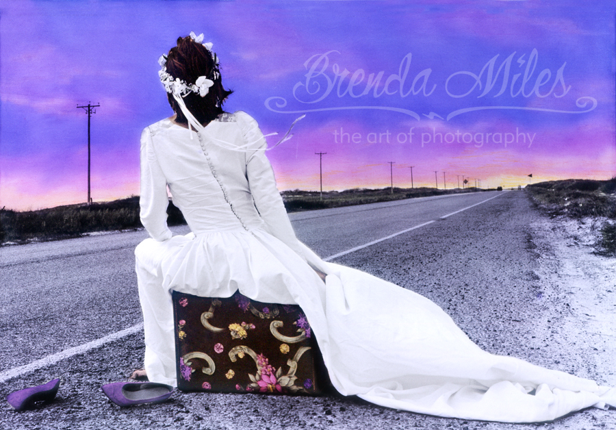 self portrait of bride on the side of the road