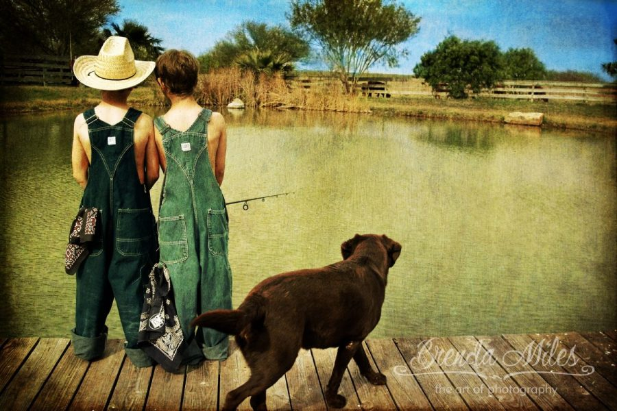Outdoor Photo Portrait of Boys Fishing with Dog