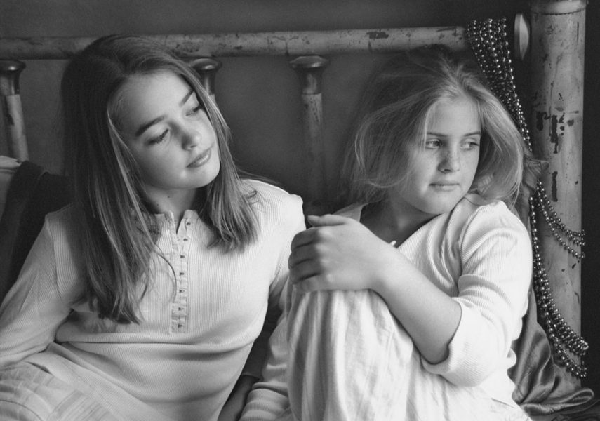 Black and White Photo Portrait of Sisters