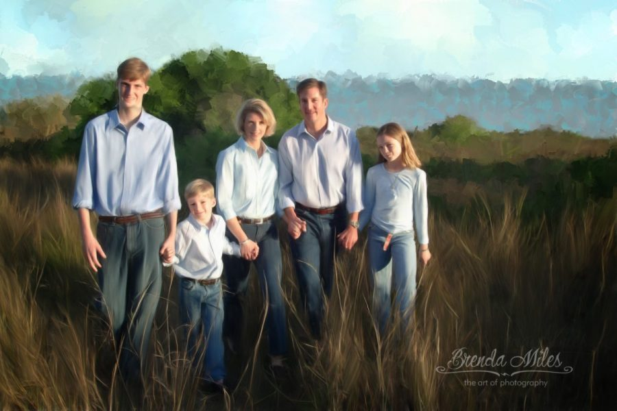 digitally painted outdoor portrait of family