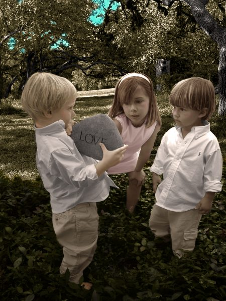 hand colored portrait of 3 children outdoors
