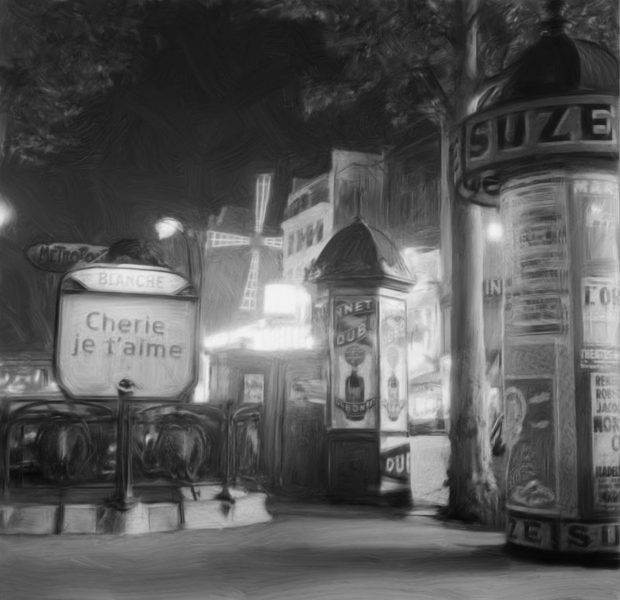 digitally painted black & white image of moulin rouge area of paris france