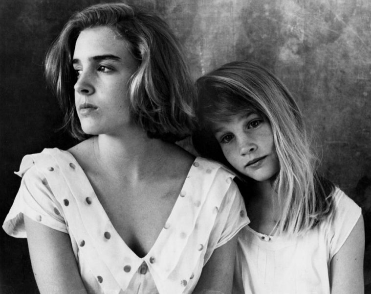 Black & White Photographic Portrait of Sisters