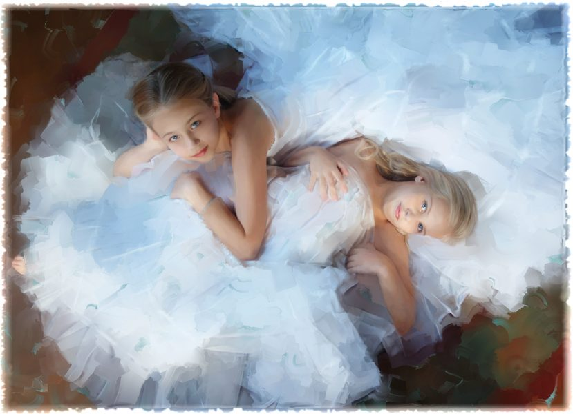 painted photo portrait of young sisters