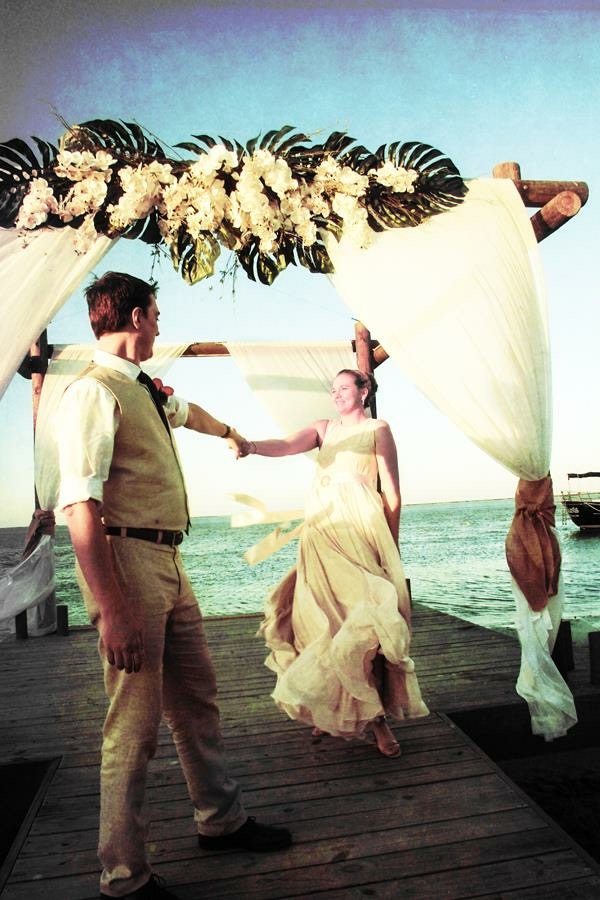 Wedding Couple Dancing by the Sea